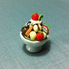 1 Ice Cream Cup Fruits Chocolate Food Clay Fimo Ceramic Miniature Dollhouse Jewelry Decoration