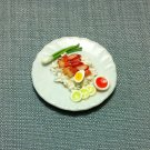 Grilled Pork Rice Plate Dish Asia Food Meal Clay Fimo Ceramic Miniature Dollhouse Jewelry Decoration