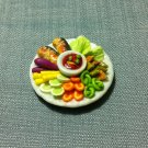 Grilled Fish Salad Plate Dish Food Meal Clay Fimo Ceramic Miniature Dollhouse Jewelry Decoration