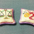 2 Cushions Cushion Embroidered Fabric Accessories Tiny Hand Made Miniature Dollhouse Decoration