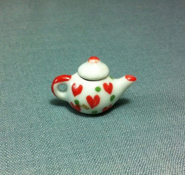 Tea Hot Coffee Pot Red Hearts Drinks Ceramic Miniature Dollhouse Decoration Jewelry Hand Painted