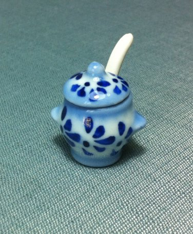 Soup Tureen Pot Jar Spoon Blue Kitchen Ceramic Miniature Dollhouse Decoration Jewelry Hand Painted