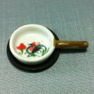Frying Pan Slate Stand Rooster Kitchen Ceramic Miniature Dollhouse Decoration Jewelry Hand Painted