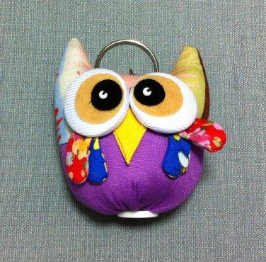 Funky Owl Bird Animal Purple Vintage Fabric Doll Funny Keyring Keychain Key Ring Key Chain Bag Car
