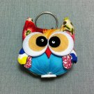 Funky Owl Bird Animal Blue Vintage Fabric Doll Funny Keyring Keychain Key Ring Key Chain Bag Car