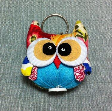 Funky Owl Bird Animal Blue Vintage Fabric Doll Funny Keyring Keychain Key Ring Key Chain Bag Car