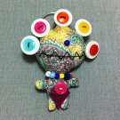 Funky Monster Alien Green Vintage Fabric Doll Funny Keyring Keychain Key Ring Key Chain Bag Car