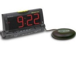 Wake Assure Clock w/Lamp Outlet and 12V Pillow Vibrator