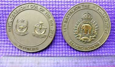 Challenge Coin 14th Battalion The 1st Punjab Regiment Elephant India Army 2.5'