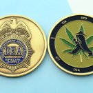 DEA CHALLANGE COIN 420 Marijuana weed SPY 2 INCH bronze epoxy coating