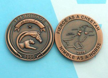 Challenge Coin Pakistan 124 Brigade Bronze Horse Cheetah 2 1/2 Inch Army