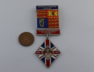 Queen Elizabeth II Diamond Jubilee Medal Ribbon Grand Orange Lodge