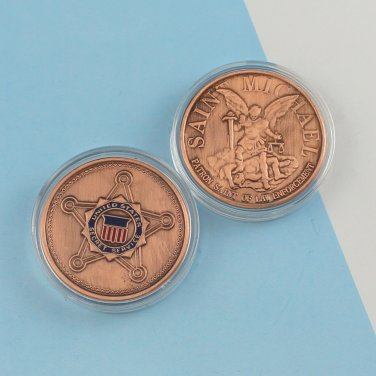 Challenge Coin USSS Secret Service SAINT MICHAEL copper PLATED 1 1/2 inch
