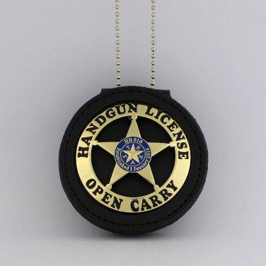Open Carry Permit Handgun License Metal Badge & holder