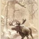 Moose in Snow Tin Sign #1140