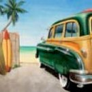 Beach Woody Car tin sign #1147