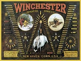 Winchester Bullet Board Tin Sign #942