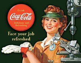 Coke Female Machinist Tin Sign #1303