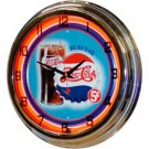 "17"" Neon Wall Clock- Pepsi ""Big Glass"" 5¢ Design"