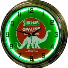 "17"" Neon Wall Clock- Sinclair Opaline Motor Oil"