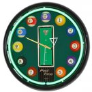 "16"" Neon Wall Clock- Billiards Pool Time"