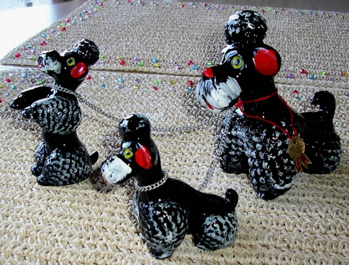 3 Vintage Chained Poodle Porcelain Figures - MADE IN JAPAN!
