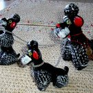 3 Vintage Chained Poodle Porcelain Figures JAPAN!