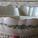 LENOX China Holiday (Dimension) 3-Part Relish (Design Outside) Dish!