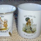 SWEET Holly Hobbie Vintage Mug w/ BONUS Gold Trim Vase!
