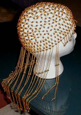 LONG DANGLE GOLD BEADED DRAG QUEEN HEADPIECE SEXY HOT!