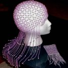 LONG DANGLE LILAC BEADED DRAG QUEEN HEADPIECE SEXY HOT!