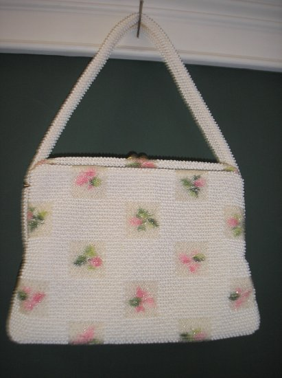 LUMARED White and Floral Petit-Bead Vintage Purse - SO SUMMERY AND ROMANTIC!