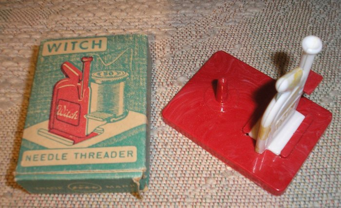"VINTAGE ""WITCH"" NEEDLE THREADER - WEST GERMANY - IN ORIGINAL BOX!"