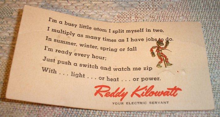 1946 REDDY KILOWATT LAPEL PIN ON ORIGINAL CARD!