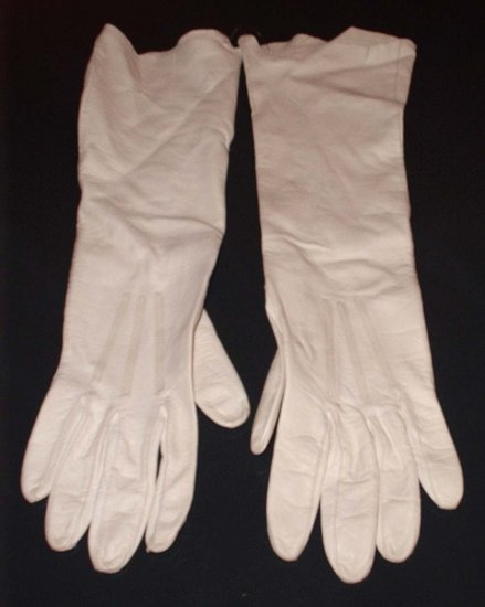 "Vintage White Leather Pigskin Gloves 14.5"" Long Like New!"