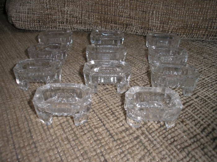 SET of 11 VINTAGE OCTAGON FOOTED SALT CELLARS!