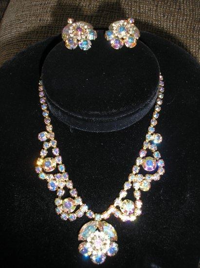 VINTAGE Necklace and Earring set - AURORA BOREALIS!!