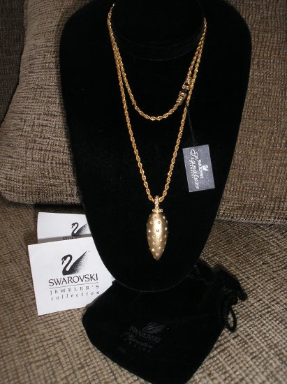 "SWAROVSKI SIGNATURE Goldtone RHINESTONE CRYSTAL necklace on 30"" chain - BRAND NEW!"
