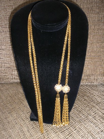 STUNNING Goldtone and Rhinestone Belt/Necklace with Dangles!