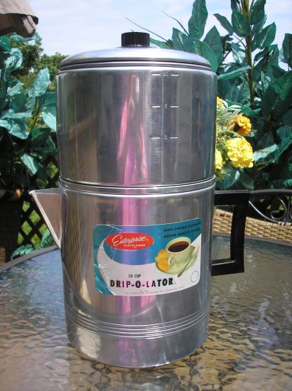 20 CUP DRIP-O-LATOR by THE ENTERPRISE ALUMINUM CO. with BAKELITE Fittings - BRAND NEW with label!