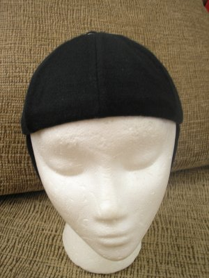 VINTAGE BLACK WOOL & RHINESTONE HAT with CHIN STRAP - VERY UNIQUE and FUN!