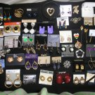 JEWELRY LOT of 45+ pieces - PIERCED/CLIP EARRINGS, PINS, ALABASTER BANGLE BRACELET and MORE!