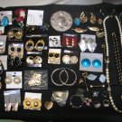 JEWELRY LOT of 45+ pieces - PIERCED/CLIP EARRINGS, PINS, SILVER PURSE MIRROR and MORE!