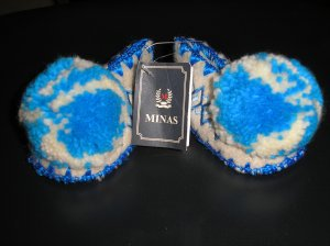 G. MINAS TRADITIONAL GREEK WOOLEN SLIPPERS LAMBS WOOL - INFANT SIZE 3.5  - BRAND NEW!