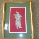 VICTORIAN IVORY SANTA FRAMED NEEDLEPOINT UNDER GLASS!