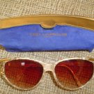 "EXQUISITE TED LAPIDUS PARIS ""VANILLA CREAM SNAKESKIN"" SUNGLASSES with ORIGINAL CASE - LIKE NEW!"