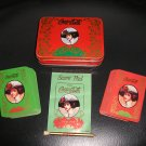 VINTAGE COCA-COLA GIBSON GIRL HOLIDAY PLAYING CARDS SET in MATCHING LITHOGRAPHED TIN with EXTRAS!