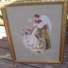 VICTORIAN ANGEL FEEDING DOVE FRAMED NEEDLEPOINT - GORGEOUS WOODEN FRAME with GOLD LEAF DESIGN!