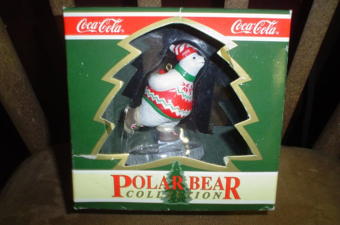 "COCA COLA CHRISTMAS ORNAMENT POLAR BEAR COLLECTION ""SKATING POLAR BEAR"" 1994 - NEW IN BOX!"