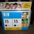 HP 15 GENUINE Black Ink Cartridge Twin Pack - HP part: C6653BN#140 - BRAND NEW
